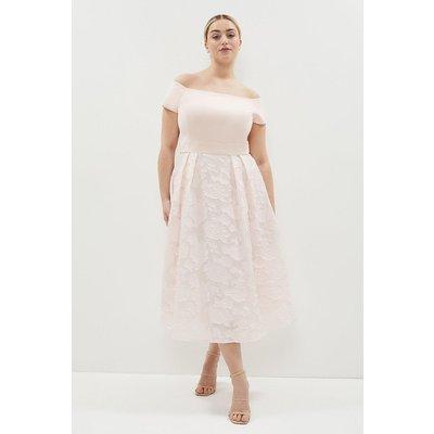 Coast Curve Bardot Neck Embroidered Midi Dress -, Pink