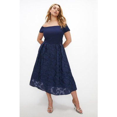 Coast Curve Bardot Neck Embroidered Midi Dress -, Navy