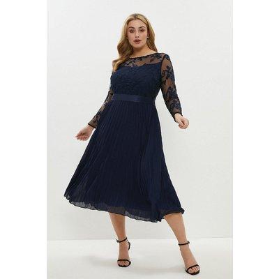 Coast Curve Embroidered Long Sleeve Midi Dress -, Navy