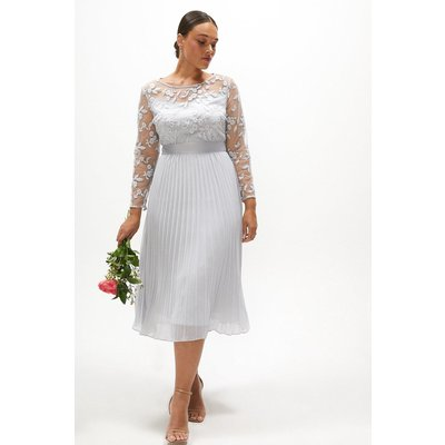 Coast Curve Embroidered Long Sleeve Midi Dress -, Silver