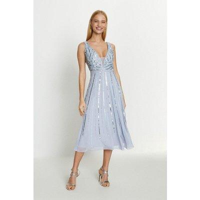 Coast Embellished Sequin Plunge Midi Dress -, Navy
