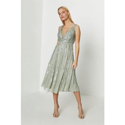 Coast Embellished Sequin Plunge Midi Dress -, Sage