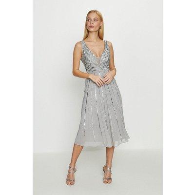 Coast Embellished Sequin Plunge Midi Dress -, Silver