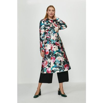 Coast Jacquard Trench Coat -, Floral