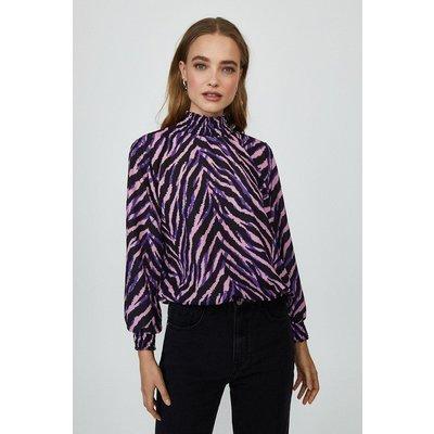 Coast Shirred Neck Long Sleeve Top -, Zebra
