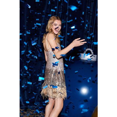 Coast Ombre Sequin Embellished Feather Dress -, Silver
