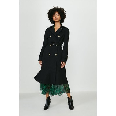 Coast Ruffle Hem Belted Trench Coat -, Black