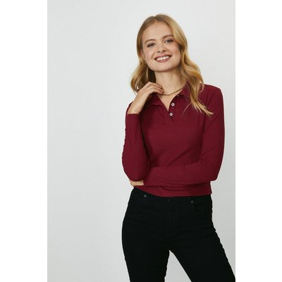 Coast Button Jersey Polo Top -, Red