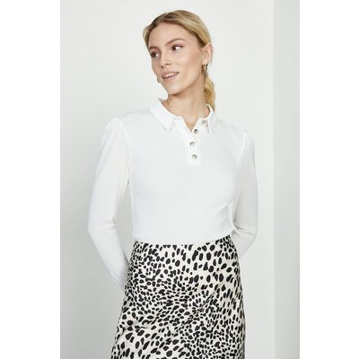 Coast Button Jersey Polo Top -, Ivory