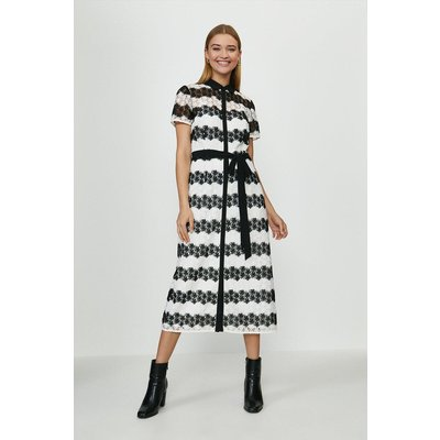 Coast Striped Lace Shirt Dress -, Mono