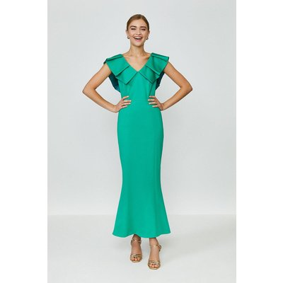 Coast Frill Neck Full Length Dress, Green