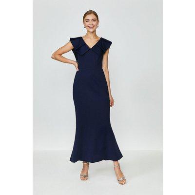 Coast Frill Neck Full Length Dress Midnight, Navy