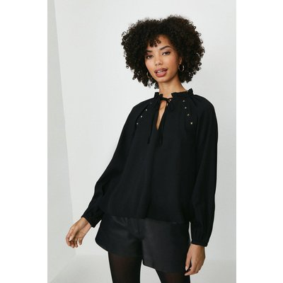 Coast Long Blouson Sleeve Top -, Black