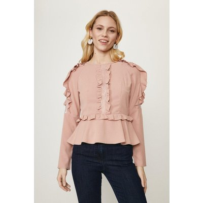 Coast Ruffle Long Sleeve Top -, Pink