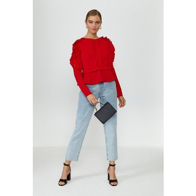 Coast Ruffle Long Sleeve Top -, Red