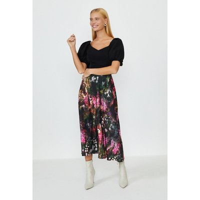 Coast Solid Bodice Printed Skirt Midi Dress, Black