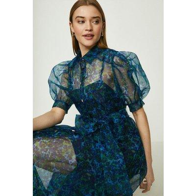 Coast Printed Organza Puff Sleeve Midi Dress -, Green