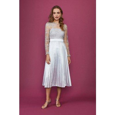 Coast Lace Midi Dress -, Silver