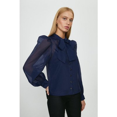Coast Tie Neck Organza Long Sleeve Top -, Navy