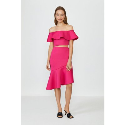 Coast Off The Shoulder Top And Midi Skirt Co-Ord -, Pink