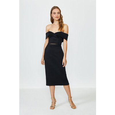 Coast Scuba Bardot Top And Midi Skirt Co-Ord -, Black