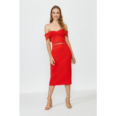 Coast Scuba Bardot Top And Midi Skirt Co-Ord -, Red