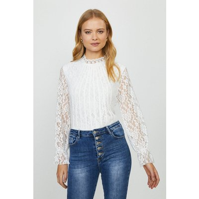Coast Lace Long Sleeve Top -, White