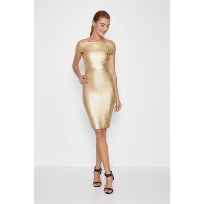 Coast Metallic Foil Bandage Midi Skirt -, Gold