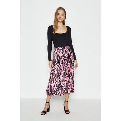 Coast Woven Pleated Midi Skirt -, Pink