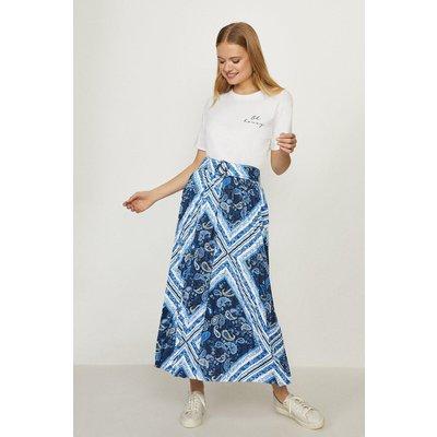 Coast Printed Pleated Midi Skirt -, Blue