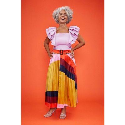 Coast Printed Pleated Midi Skirt, Multi