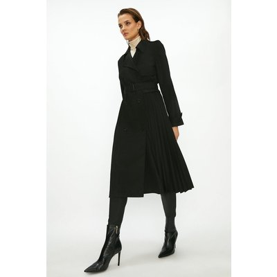 Coast Pleated Trench Coat -, Black