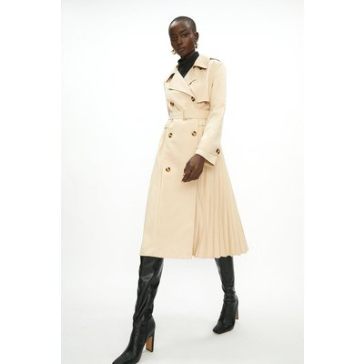 Coast Pleated Trench Coat Stone, Brown