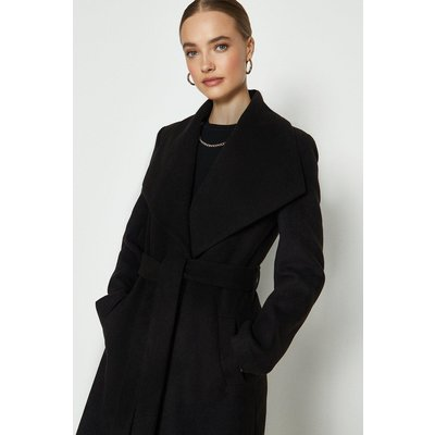 Coast Belted Wrap Coat, Black