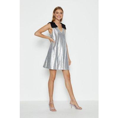 Coast Bow Shoulder Sequin Cami Dress -, Silver