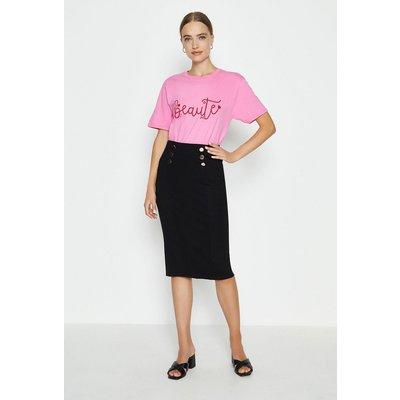 Coast Button Detail Ponte Pencil Skirt, Black