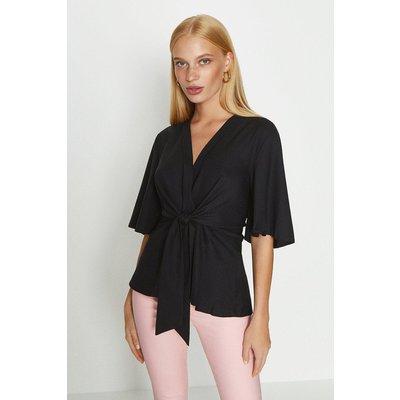 Coast Short Sleeve Plain Wrap Top, Black