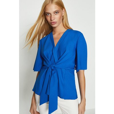 Coast Short Sleeve Plain Wrap Top, Blue