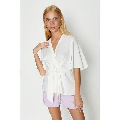 Coast Short Sleeve Plain Wrap Top, White
