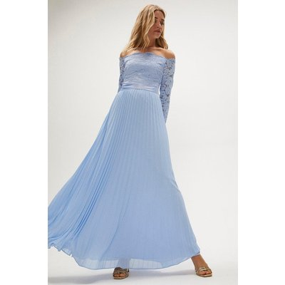 Coast Lace Bodice Bardot Maxi Dress -, Pale Blue