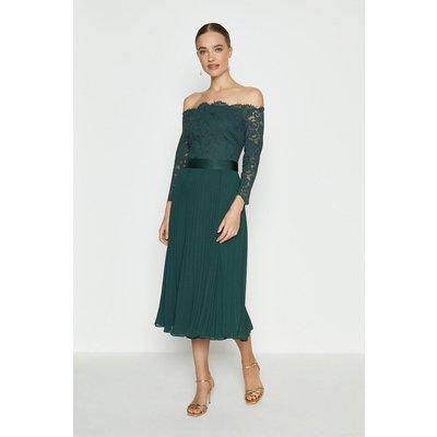 Coast Lace Bodice Bardot Midi Dress -, Green