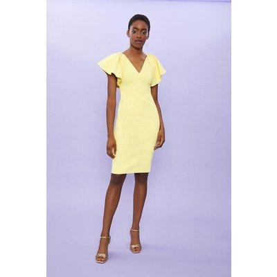 Coast Ruffle Sleeve Midi Shift Dress Lemon, Yellow