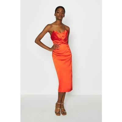 Coast Seam Bandeau Midi Dress, Orange