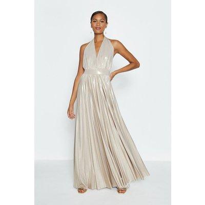 Coast Halterneck Metallic Pleated Maxi Dress, Gold