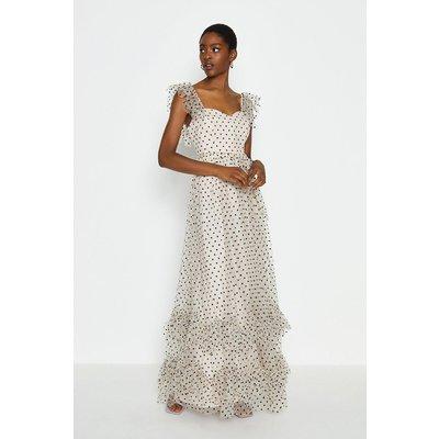 Coast Polkadot Spot Tiered Maxi Dress, Mono