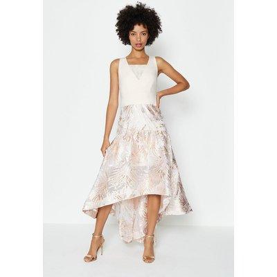 Coast Drop Waist Clipped Jacquard Midi Dress, Pink