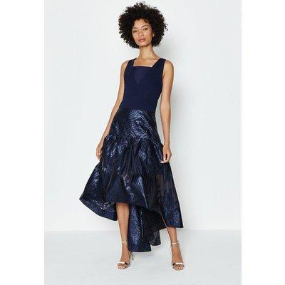 Coast Drop Waist Clipped Jacquard Midi Dress, Navy