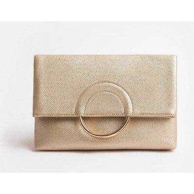 Coast Ring Detail Clutch Bag, Gold