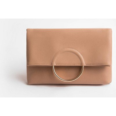 Coast Ring Detail Clutch Bag, Nude