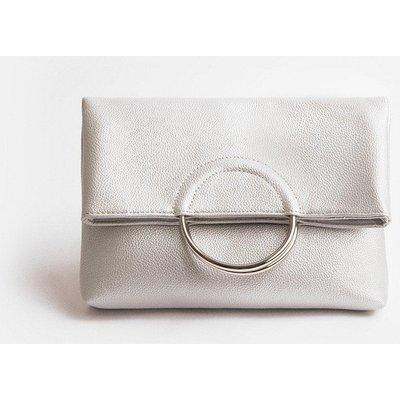Coast Ring Detail Clutch Bag, Silver